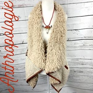 Anthropologie Tan Wool Sherpa Vest with Pockets